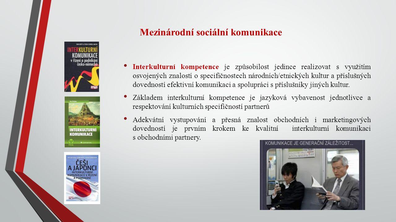 Mezinárodní sociální komunikace Interkulturní kompetence je způsobilost jedince realizovat s využitím osvojených znalostí o specifičnostech národních/