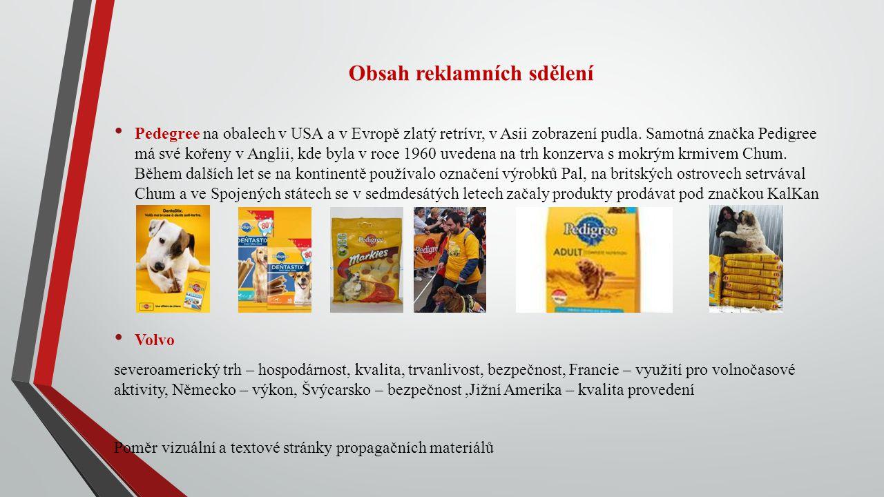 Obsah reklamních sdělení Pedegree na obalech v USA a v Evropě zlatý retrívr, v Asii zobrazení pudla. Samotná značka Pedigree má své kořeny v Anglii, k