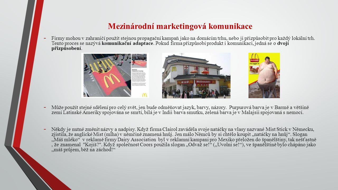 Mezinárodní marketingová komunikace - Firmy mohou v zahraničí použít stejnou propagační kampaň jako na domácím trhu, nebo ji přizpůsobit pro každý lok