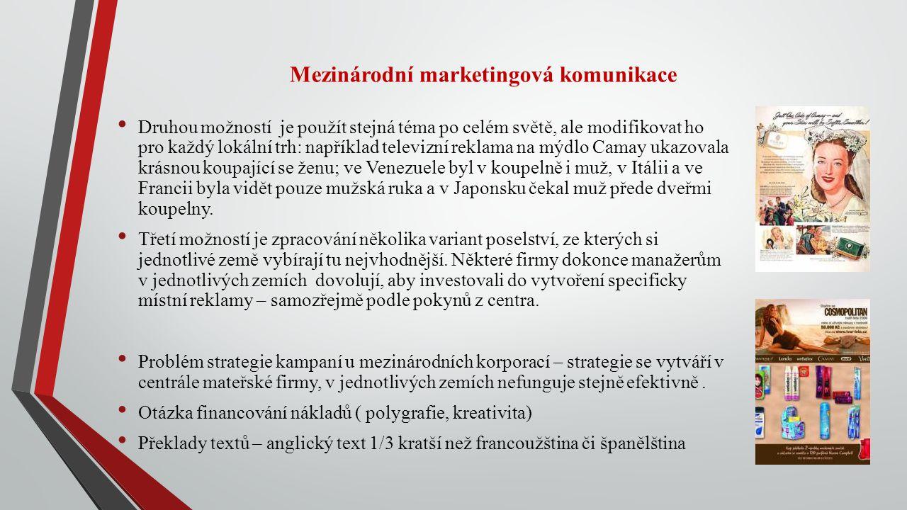 Mezinárodní marketingová komunikace Druhou možností je použít stejná téma po celém světě, ale modifikovat ho pro každý lokální trh: například televizn