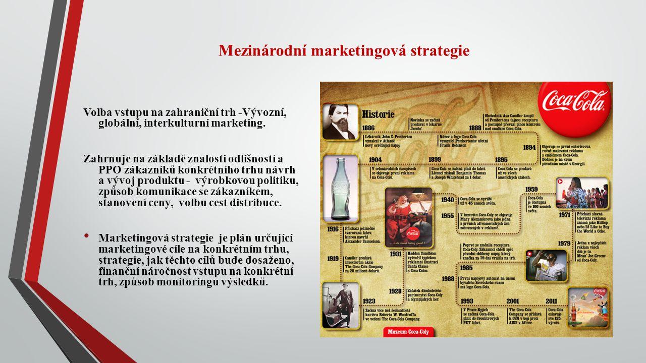 Mezinárodní marketingová strategie Volba vstupu na zahraniční trh -Vývozní, globální, interkulturní marketing. Zahrnuje na základě znalosti odlišností