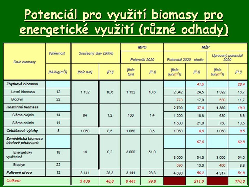 Potenciál pro využití biomasy pro energetické využití (různé odhady)