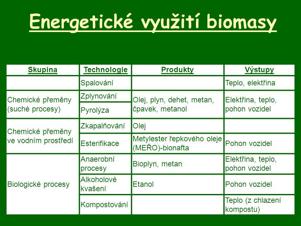 Energetické využití biomasy SkupinaTechnologieProduktyVýstupy SpalováníTeplo, elektřina Chemické přeměny (suché procesy) Zplynování Olej, plyn, dehet,