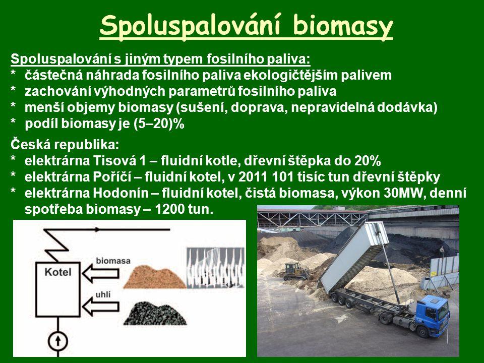 Spoluspalování biomasy Spoluspalování s jiným typem fosilního paliva: *částečná náhrada fosilního paliva ekologičtějším palivem *zachování výhodných p