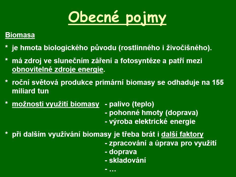 Obecné pojmy Biomasa *je hmota biologického původu (rostlinného i živočišného). *má zdroj ve slunečním záření a fotosyntéze a patří mezi obnovitelné z