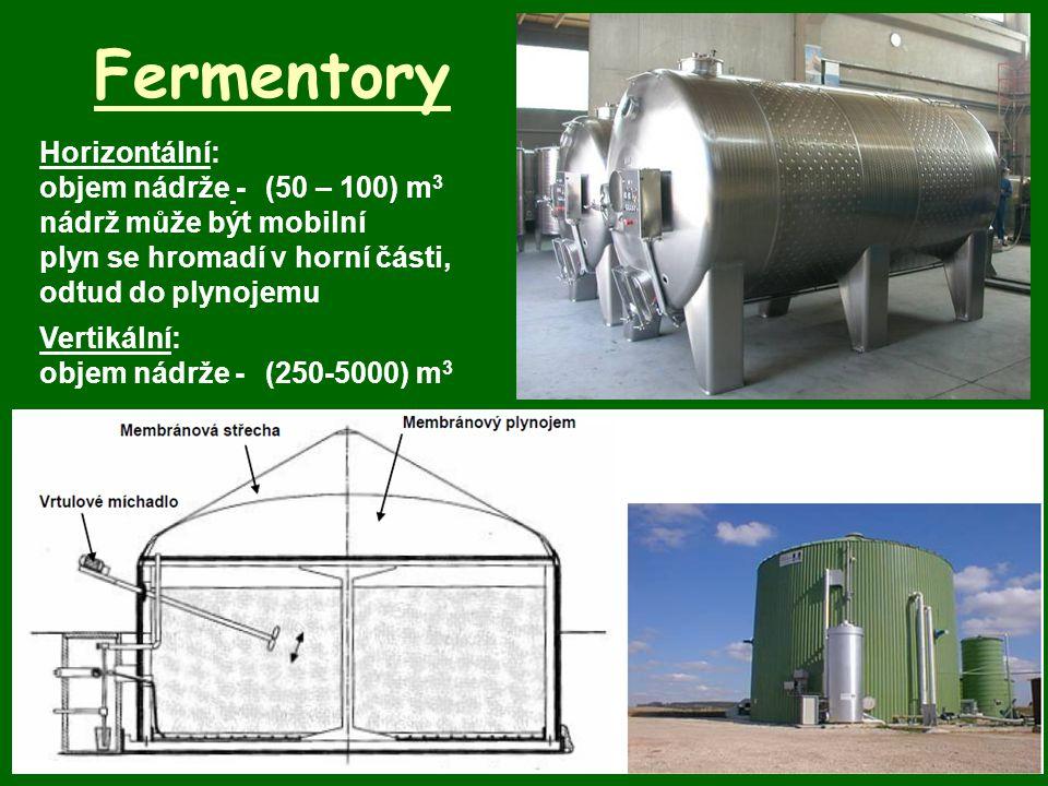 Fermentory Horizontální: objem nádrže -(50 – 100) m 3 nádrž může být mobilní plyn se hromadí v horní části, odtud do plynojemu Vertikální: objem nádrž