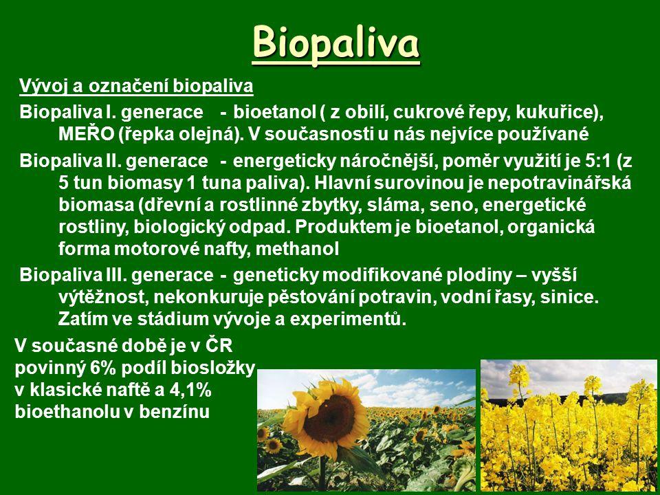 Biopaliva Vývoj a označení biopaliva Biopaliva I. generace-bioetanol ( z obilí, cukrové řepy, kukuřice), MEŘO (řepka olejná). V současnosti u nás nejv