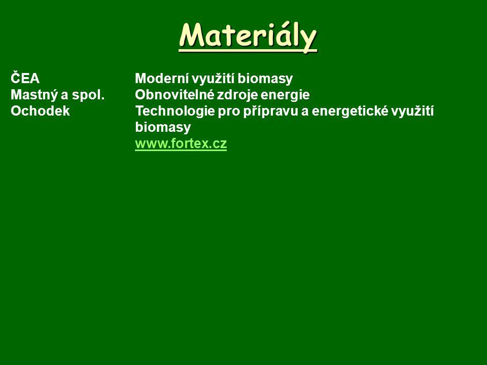 Materiály ČEAModerní využití biomasy Mastný a spol.Obnovitelné zdroje energie OchodekTechnologie pro přípravu a energetické využití biomasy www.fortex