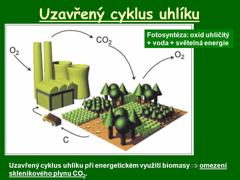 Uzavřený cyklus uhlíku Uzavřený cyklus uhlíku při energetickém využití biomasy  omezení skleníkového plynu CO 2. Fotosyntéza: oxid uhličitý + voda +