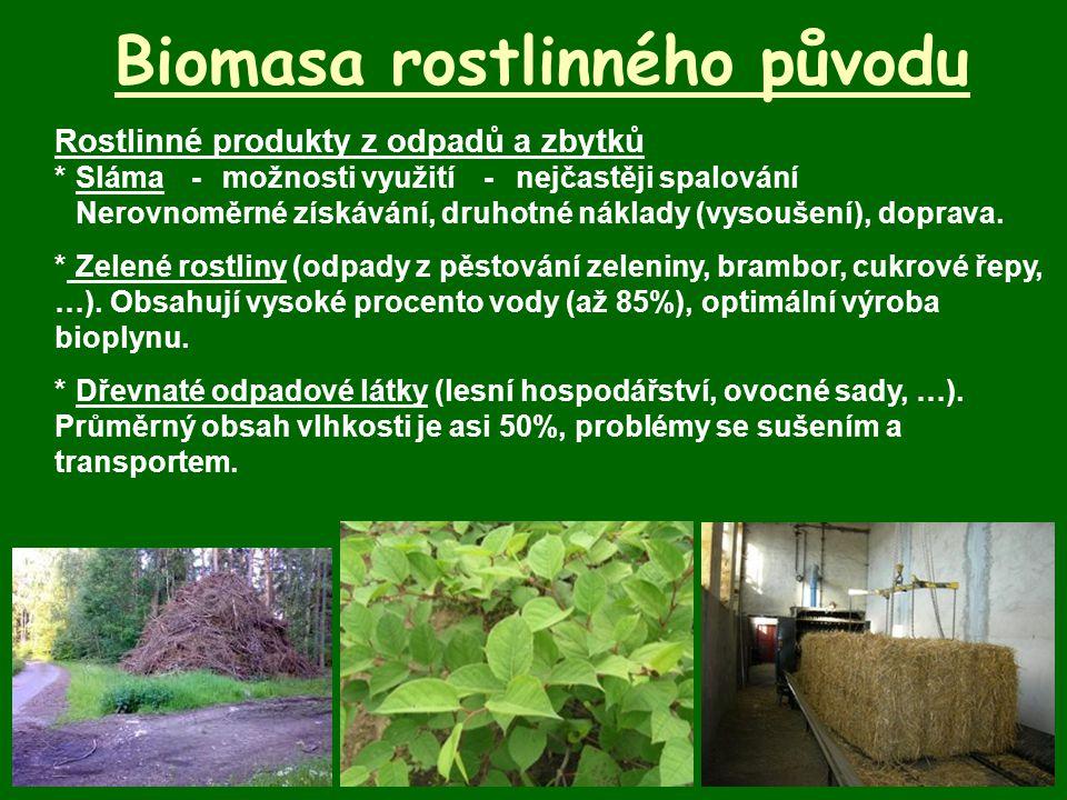 Biomasa rostlinného původu Rostlinné produkty z odpadů a zbytků *Sláma-možnosti využití-nejčastěji spalování Nerovnoměrné získávání, druhotné náklady