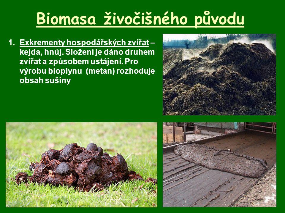 Biomasa živočišného původu 1.Exkrementy hospodářských zvířat – kejda, hnůj. Složení je dáno druhem zvířat a způsobem ustájení. Pro výrobu bioplynu (me