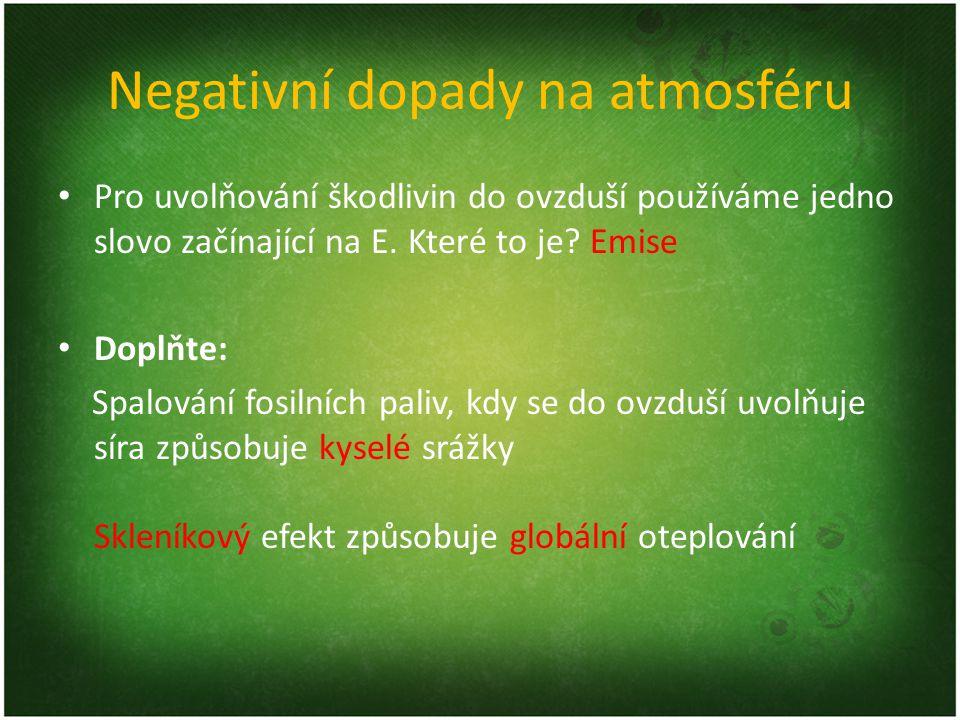 Negativní dopady na atmosféru Pro uvolňování škodlivin do ovzduší používáme jedno slovo začínající na E. Které to je? Emise Doplňte: Spalování fosilní