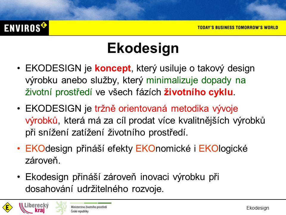 Ekodesign EKODESIGN je koncept, který usiluje o takový design výrobku anebo služby, který minimalizuje dopady na životní prostředí ve všech fázích životního cyklu.