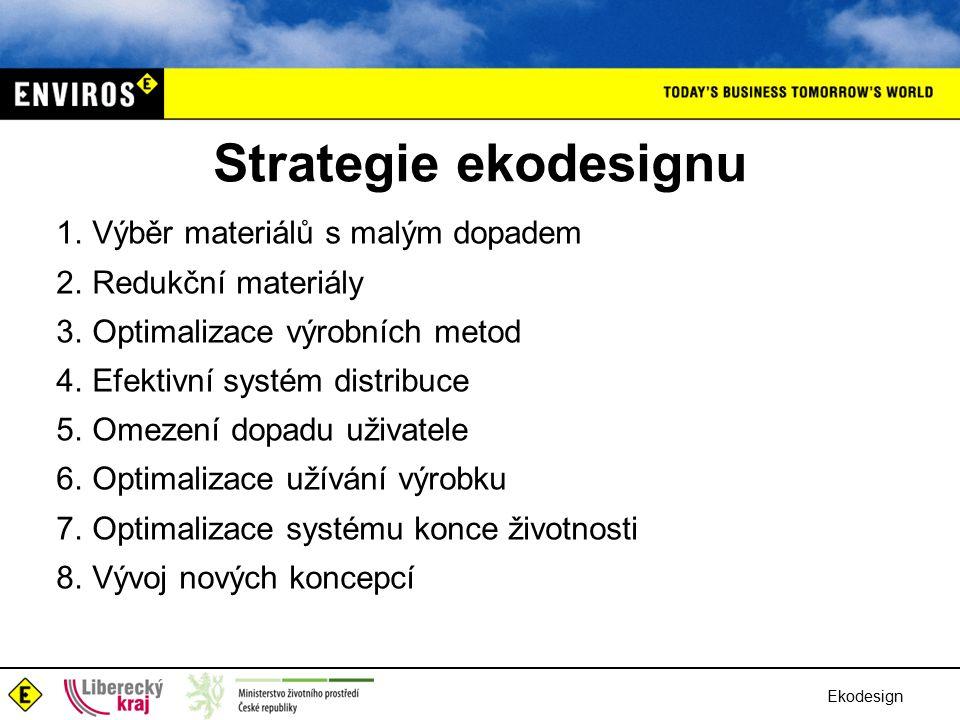 Ekodesign Strategie ekodesignu 1.Výběr materiálů s malým dopadem 2.Redukční materiály 3.Optimalizace výrobních metod 4.Efektivní systém distribuce 5.Omezení dopadu uživatele 6.Optimalizace užívání výrobku 7.Optimalizace systému konce životnosti 8.Vývoj nových koncepcí
