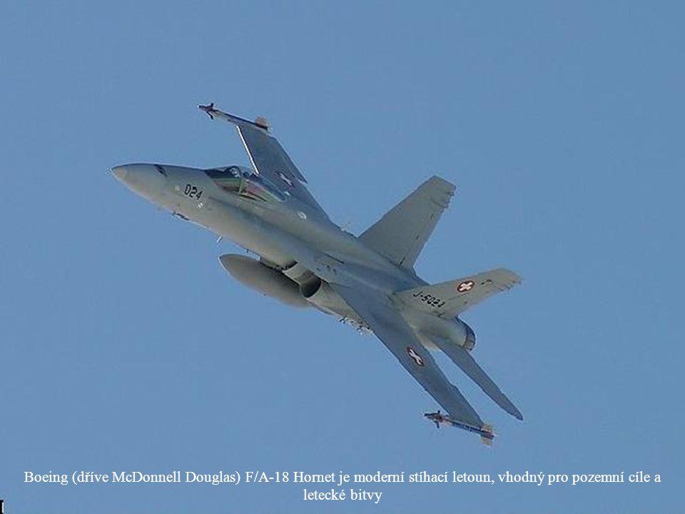 Boeing (dříve McDonnell Douglas) F/A-18 Hornet je moderní stíhací letoun, vhodný pro pozemní cíle a letecké bitvy