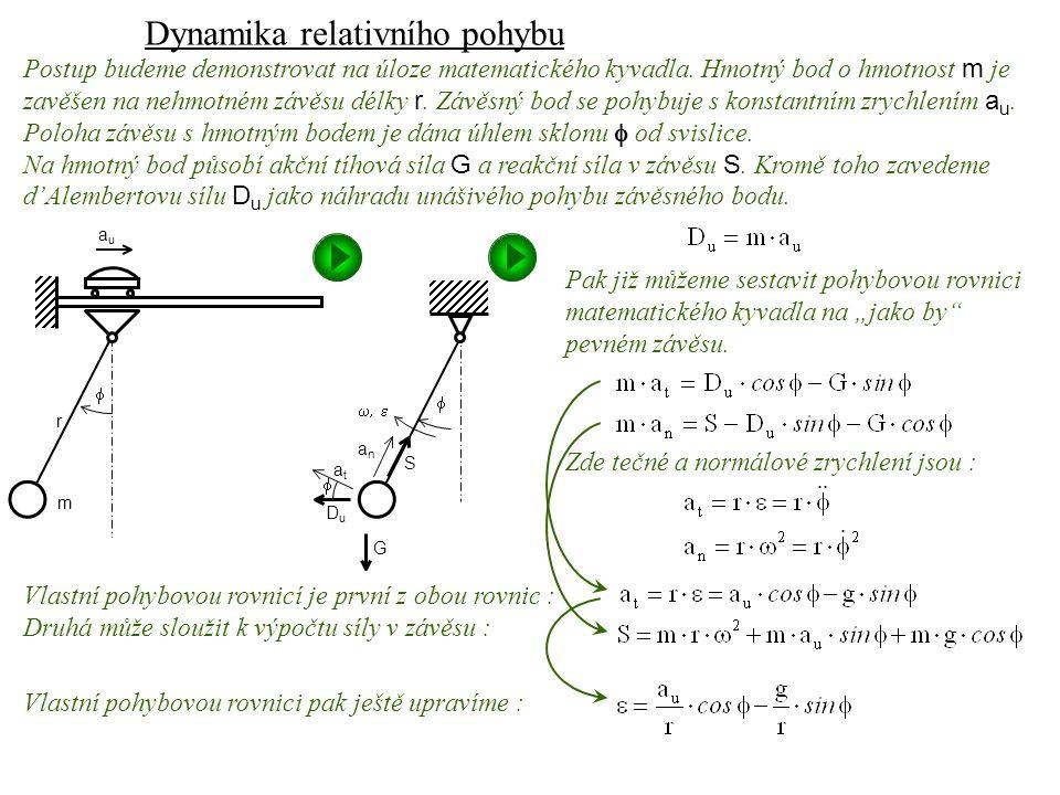 """Dynamika I, 13. přednáška DuDu S G  anan atat   Pak již můžeme sestavit pohybovou rovnici matematického kyvadla na """"jako by"""" pevném závěsu. Zde"""