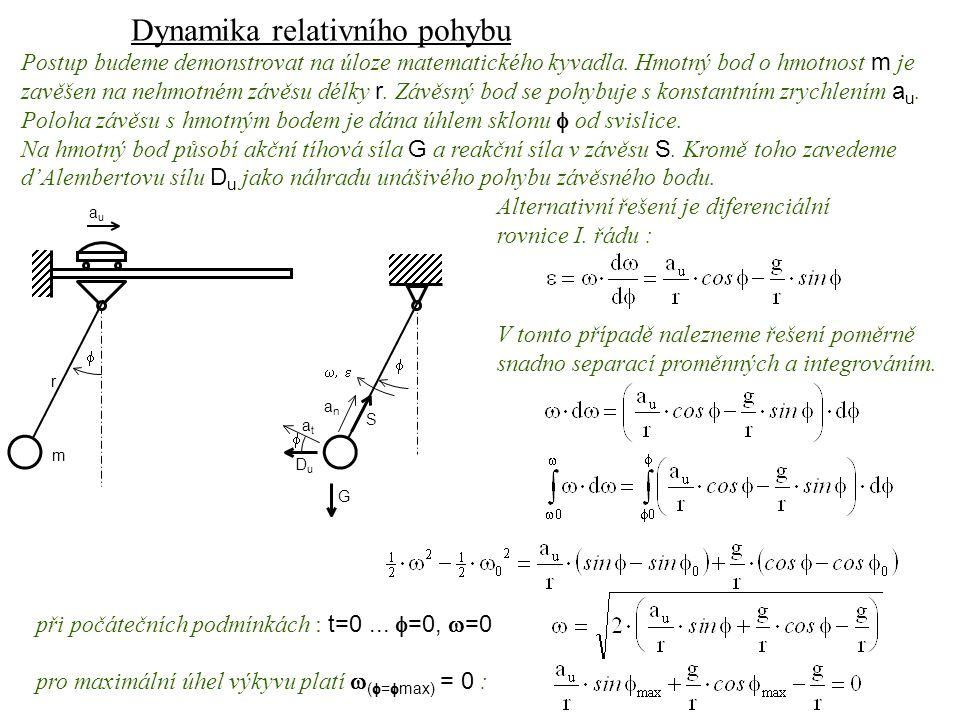 Dynamika I, 13. přednáška Postup budeme demonstrovat na úloze matematického kyvadla. Hmotný bod o hmotnost m je zavěšen na nehmotném závěsu délky r. Z
