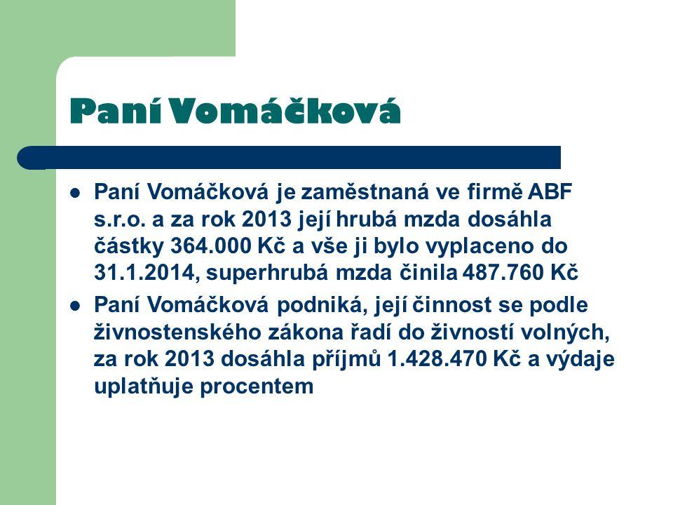 Paní Vomáčková Paní Vomáčková je zaměstnaná ve firmě ABF s.r.o. a za rok 2013 její hrubá mzda dosáhla částky 364.000 Kč a vše ji bylo vyplaceno do 31.