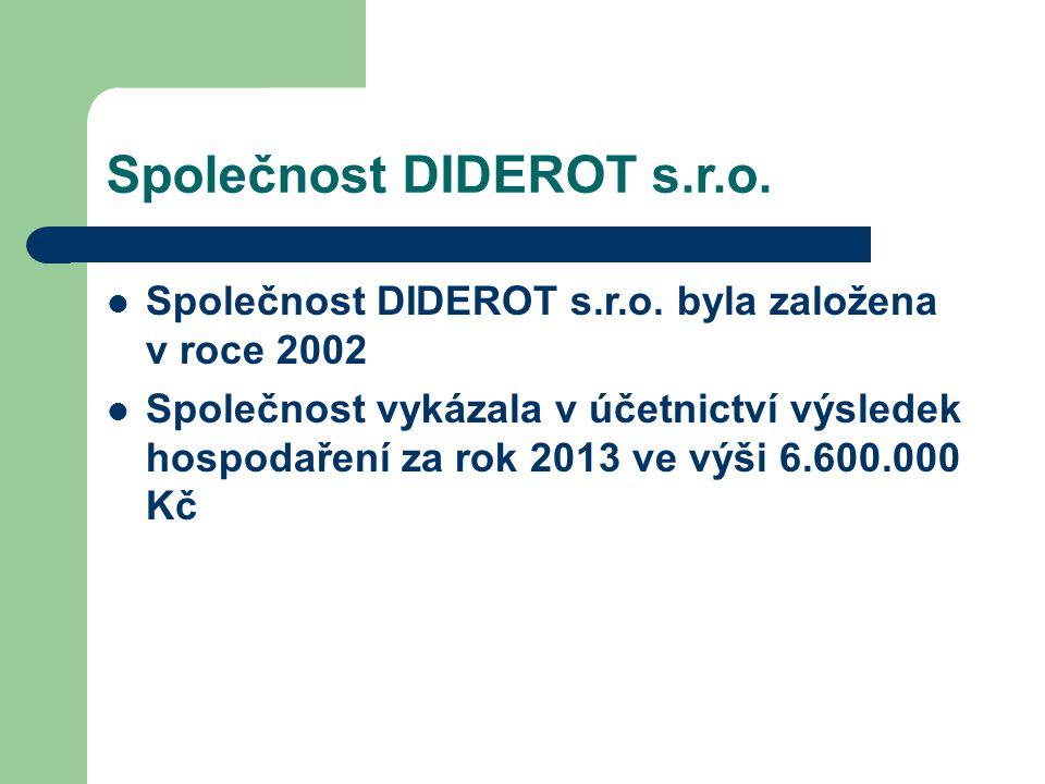Společnost DIDEROT s.r.o. Společnost DIDEROT s.r.o. byla založena v roce 2002 Společnost vykázala v účetnictví výsledek hospodaření za rok 2013 ve výš
