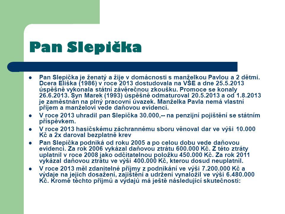 Pan Slepička Pan Slepička je ženatý a žije v domácnosti s manželkou Pavlou a 2 dětmi. Dcera Eliška (1986) v roce 2013 dostudovala na VŠE a dne 25.5.20