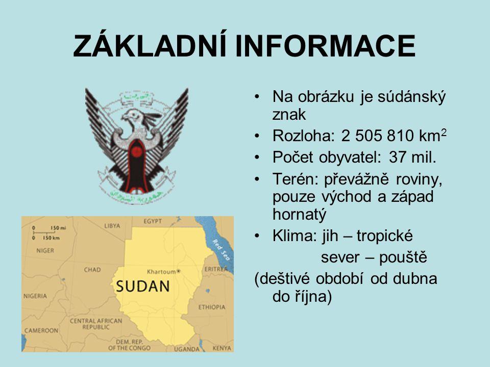 ZÁKLADNÍ INFORMACE Na obrázku je súdánský znak Rozloha: 2 505 810 km 2 Počet obyvatel: 37 mil.
