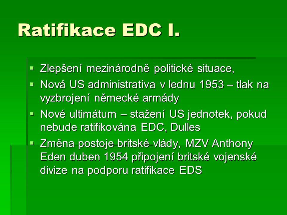 Ratifikace EDC I.  Zlepšení mezinárodně politické situace,  Nová US administrativa v lednu 1953 – tlak na vyzbrojení německé armády  Nové ultimátum