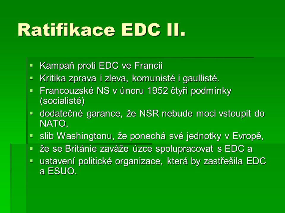 Ratifikace EDC II.  Kampaň proti EDC ve Francii  Kritika zprava i zleva, komunisté i gaullisté.  Francouzské NS v únoru 1952 čtyři podmínky (social