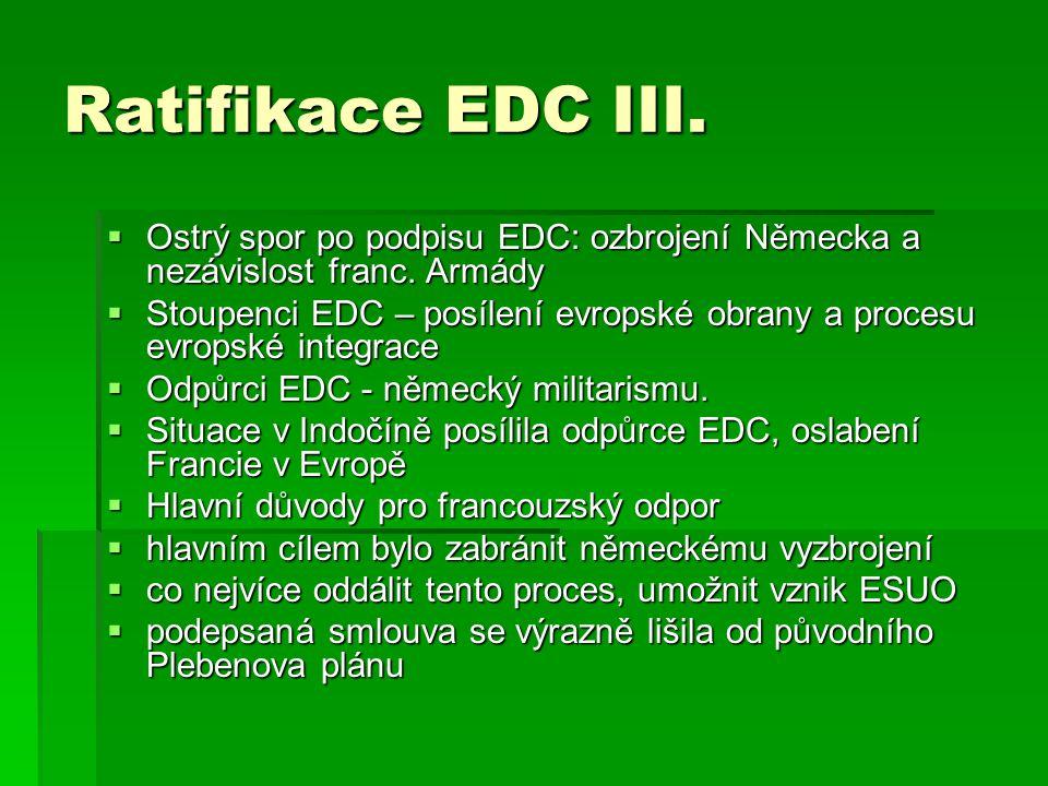 Ratifikace EDC III.  Ostrý spor po podpisu EDC: ozbrojení Německa a nezávislost franc. Armády  Stoupenci EDC – posílení evropské obrany a procesu ev