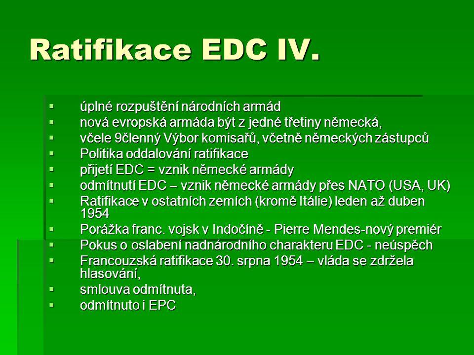 Ratifikace EDC IV.  úplné rozpuštění národních armád  nová evropská armáda být z jedné třetiny německá,  včele 9členný Výbor komisařů, včetně němec