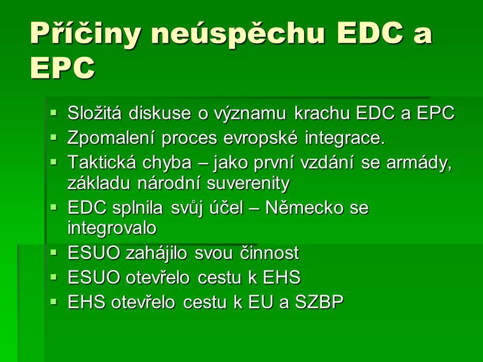 Příčiny neúspěchu EDC a EPC  Složitá diskuse o významu krachu EDC a EPC  Zpomalení proces evropské integrace.  Taktická chyba – jako první vzdání s