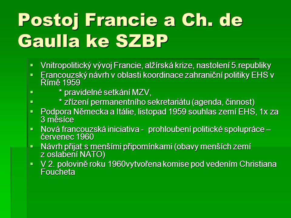 Postoj Francie a Ch. de Gaulla ke SZBP  Vnitropolitický vývoj Francie, alžírská krize, nastolení 5.republiky  Francouzský návrh v oblasti koordinace