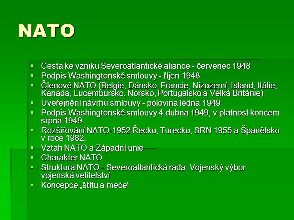 NATO  Cesta ke vzniku Severoatlantické aliance - červenec 1948  Podpis Washingtonské smlouvy - říjen 1948  Členové NATO (Belgie, Dánsko, Francie, N