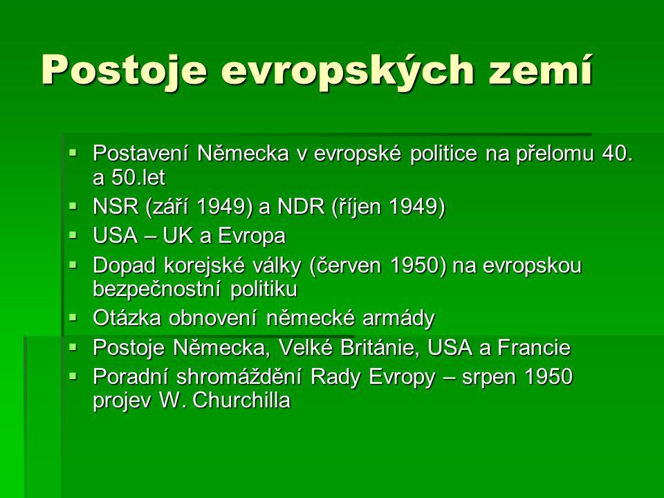 Postoje evropských zemí  Postavení Německa v evropské politice na přelomu 40. a 50.let  NSR (září 1949) a NDR (říjen 1949)  USA – UK a Evropa  Dop