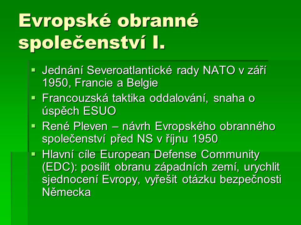 Evropské obranné společenství I.  Jednání Severoatlantické rady NATO v září 1950, Francie a Belgie  Francouzská taktika oddalování, snaha o úspěch E
