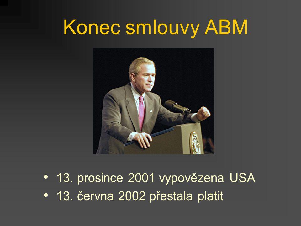Konec smlouvy ABM 13. prosince 2001 vypovězena USA 13. června 2002 přestala platit
