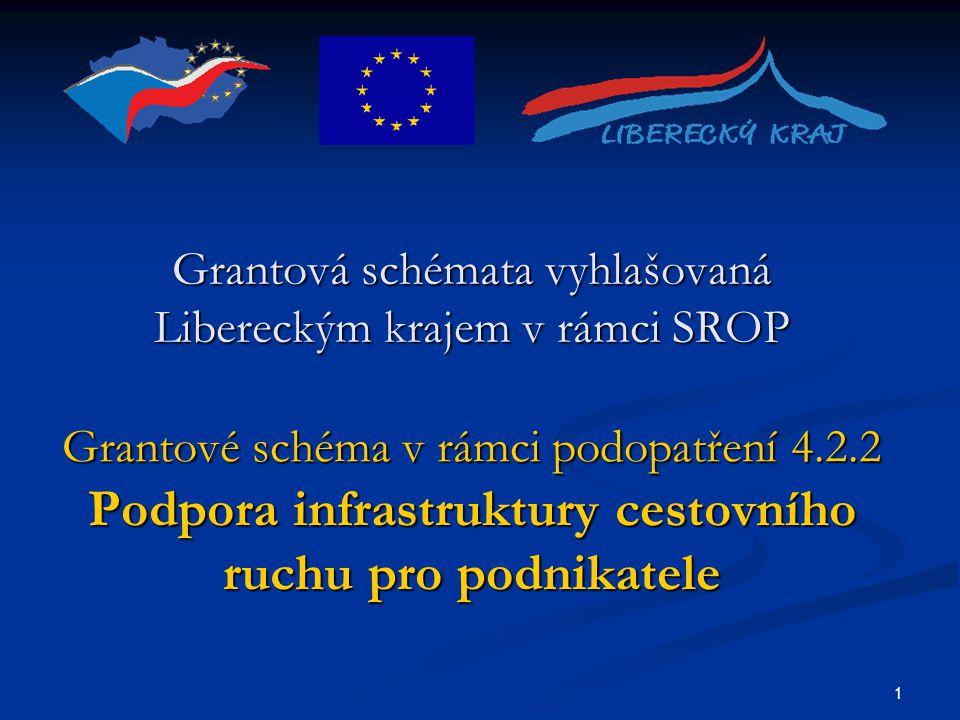 1 Grantová schémata vyhlašovaná Libereckým krajem v rámci SROP Grantové schéma v rámci podopatření 4.2.2 Podpora infrastruktury cestovního ruchu pro podnikatele