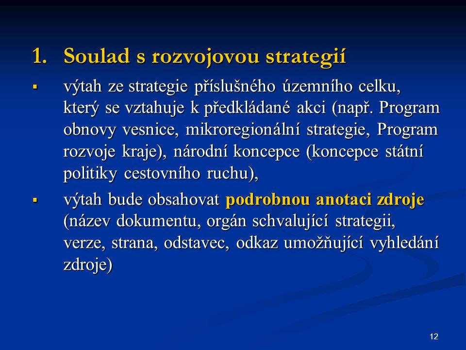 12 1.Soulad s rozvojovou strategií  výtah ze strategie příslušného územního celku, který se vztahuje k předkládané akci (např.