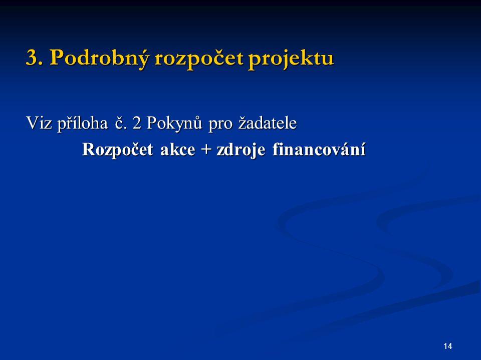 14 3. Podrobný rozpočet projektu Viz příloha č.