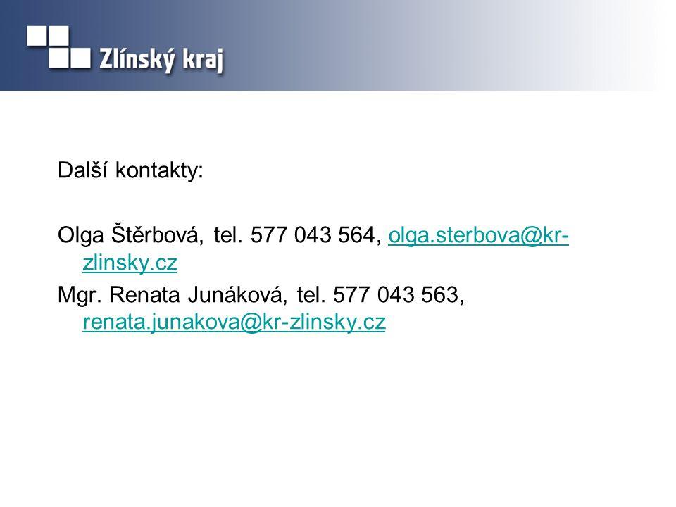 Další kontakty: Olga Štěrbová, tel.