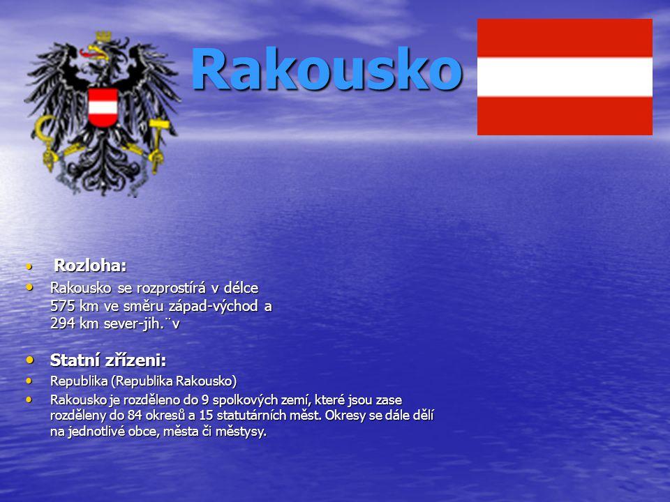 Rakousko Rozloha: Rozloha: Rakousko se rozprostírá v délce 575 km ve směru západ-východ a 294 km sever-jih.¨v Rakousko se rozprostírá v délce 575 km v