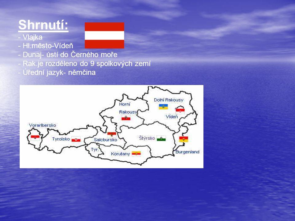 Shrnutí: - Vlajka - Hl.město-Vídeň - Dunaj- ústí do Černého moře - Rak.je rozděleno do 9 spolkových zemí - Úřední jazyk- němčina