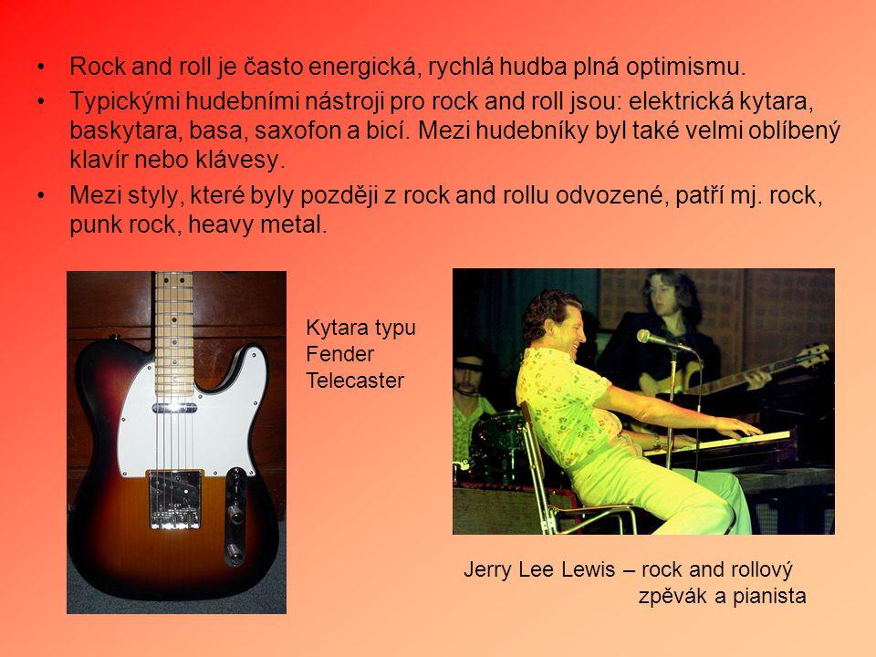 Rock and roll je často energická, rychlá hudba plná optimismu. Typickými hudebními nástroji pro rock and roll jsou: elektrická kytara, baskytara, basa