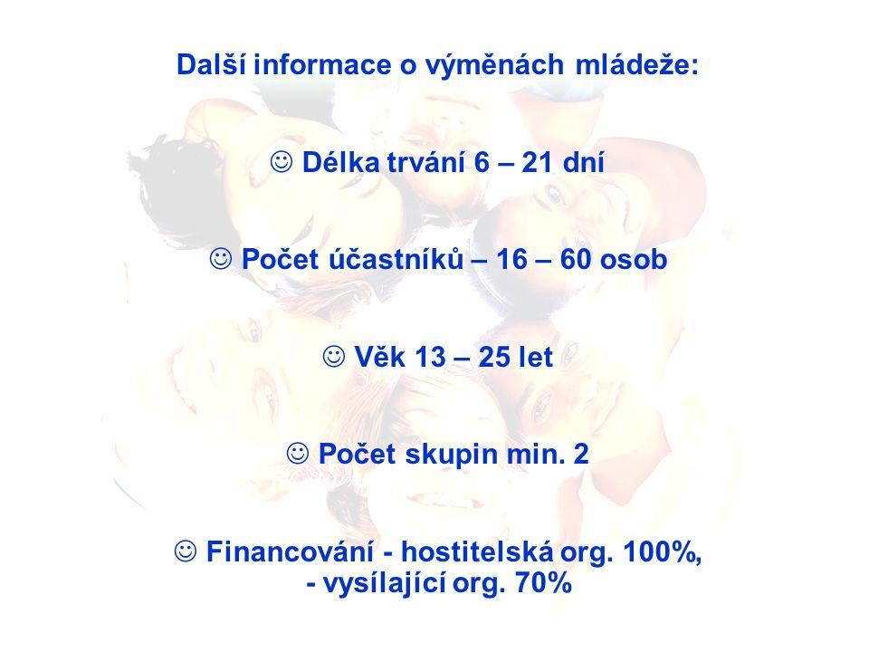 Další informace o výměnách mládeže: Délka trvání 6 – 21 dní Počet účastníků – 16 – 60 osob Věk 13 – 25 let Počet skupin min.