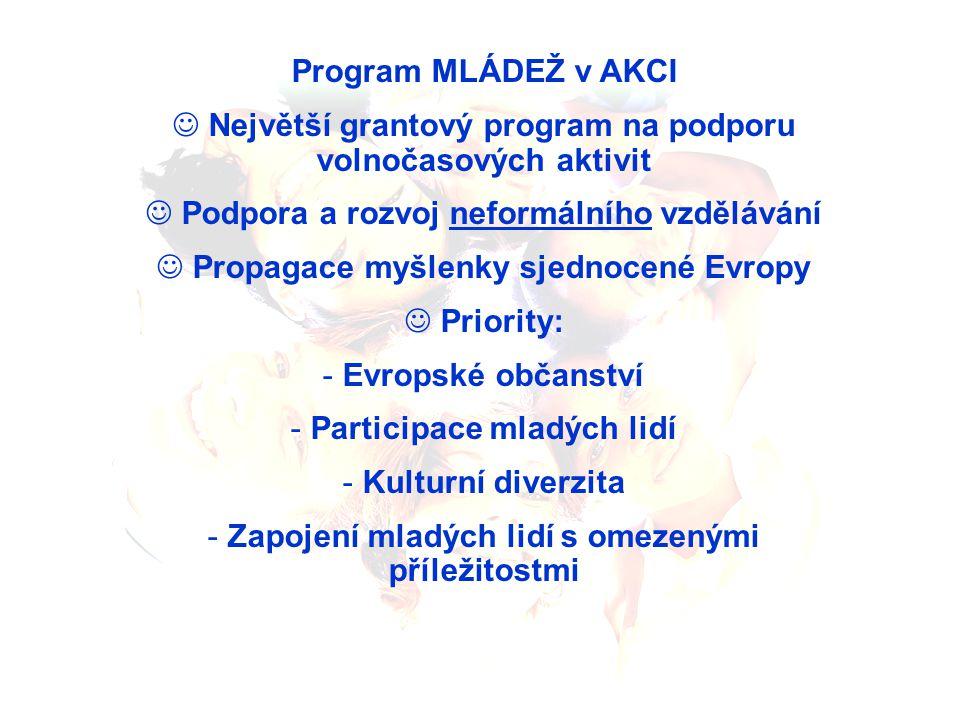 Program MLÁDEŽ v AKCI Největší grantový program na podporu volnočasových aktivit Podpora a rozvoj neformálního vzdělávání Propagace myšlenky sjednocené Evropy Priority: - Evropské občanství - Participace mladých lidí - Kulturní diverzita - Zapojení mladých lidí s omezenými příležitostmi