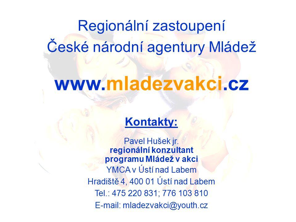 Regionální zastoupení České národní agentury Mládež www.mladezvakci.cz Kontakty: Pavel Hušek jr.