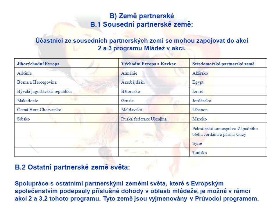 B) Země partnerské B.1 Sousední partnerské země: Účastníci ze sousedních partnerských zemí se mohou zapojovat do akcí 2 a 3 programu Mládež v akci.