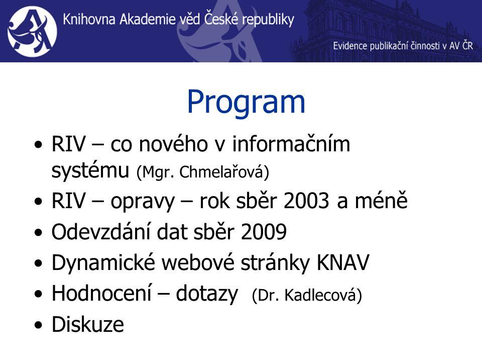 Program RIV – co nového v informačním systému (Mgr. Chmelařová) RIV – opravy – rok sběr 2003 a méně Odevzdání dat sběr 2009 Dynamické webové stránky K