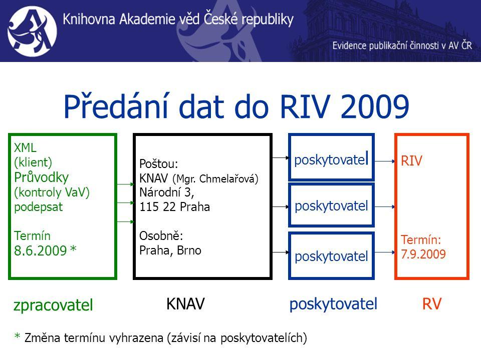Předání dat do RIV 2009 XML (klient) Průvodky (kontroly VaV) podepsat Termín 8.6.2009 * poskytovate l zpracovatel poskytovatel RIV Termín: 7.9.2009 KNAV Poštou: KNAV (Mgr.