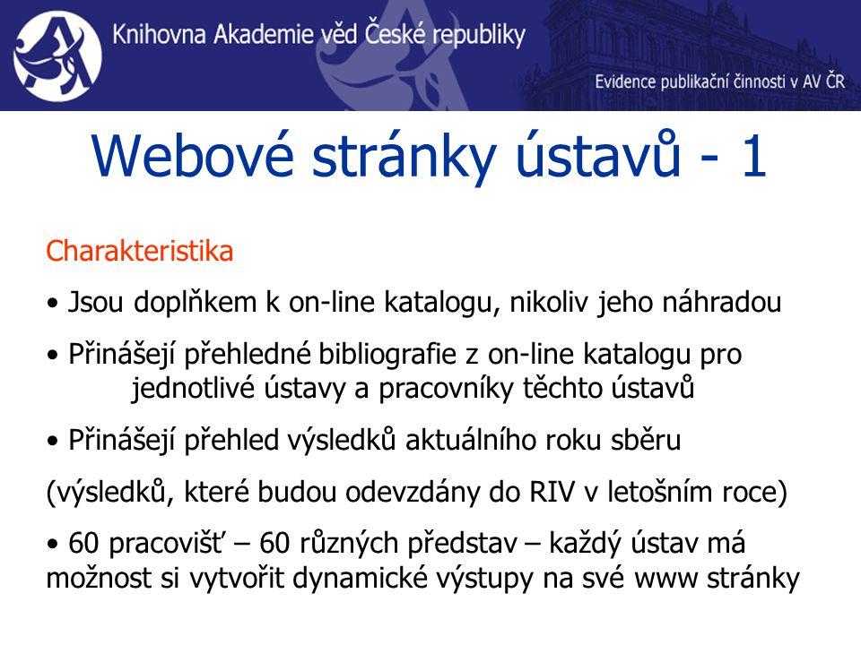Webové stránky ústavů - 1 Charakteristika Jsou doplňkem k on-line katalogu, nikoliv jeho náhradou Přinášejí přehledné bibliografie z on-line katalogu