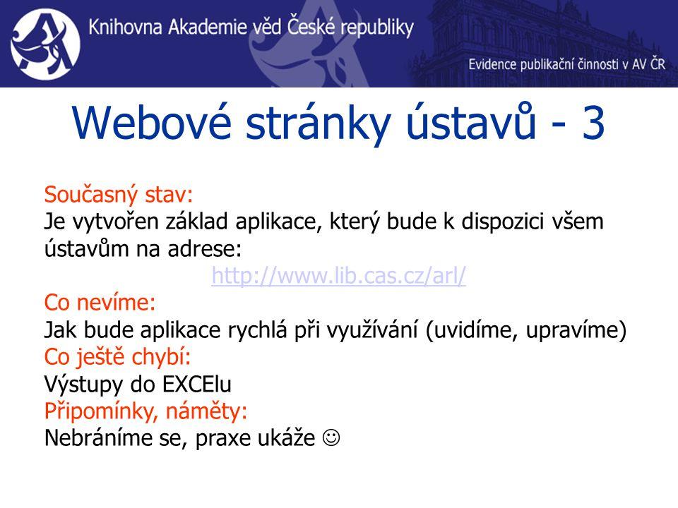 Webové stránky ústavů - 3 Současný stav: Je vytvořen základ aplikace, který bude k dispozici všem ústavům na adrese: http://www.lib.cas.cz/arl/ Co nevíme: Jak bude aplikace rychlá při využívání (uvidíme, upravíme) Co ještě chybí: Výstupy do EXCElu Připomínky, náměty: Nebráníme se, praxe ukáže